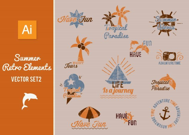 Designtnt-Vector-Summer-Retro-Elements-Set-2-prev