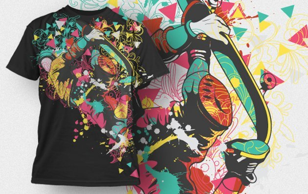 abstract vector t-shirt design with colorful skater