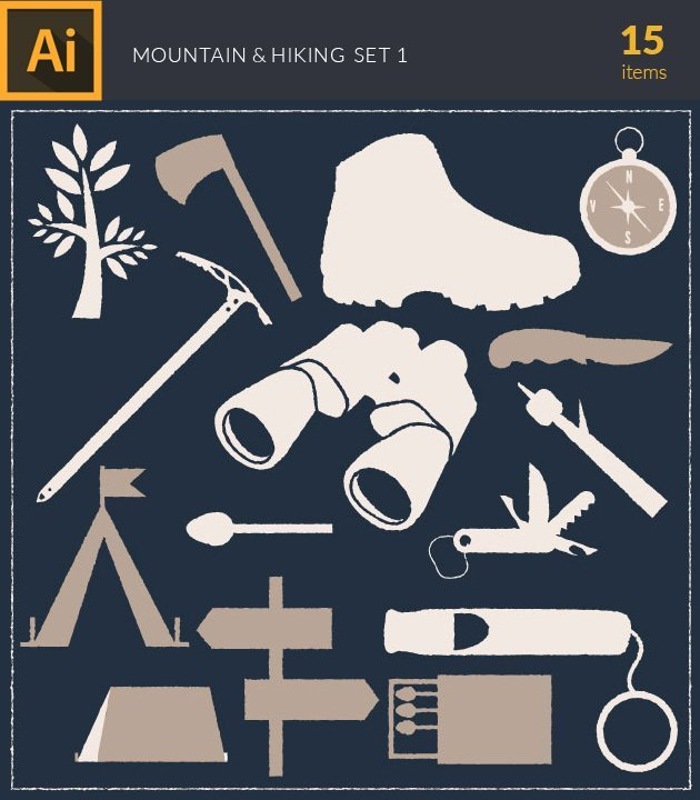 vector-mountain-and-hiking-vintage-vector-set-1