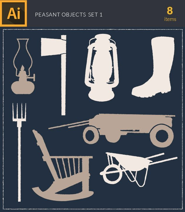 vector-peasant-objects-vintage-vector-set-1