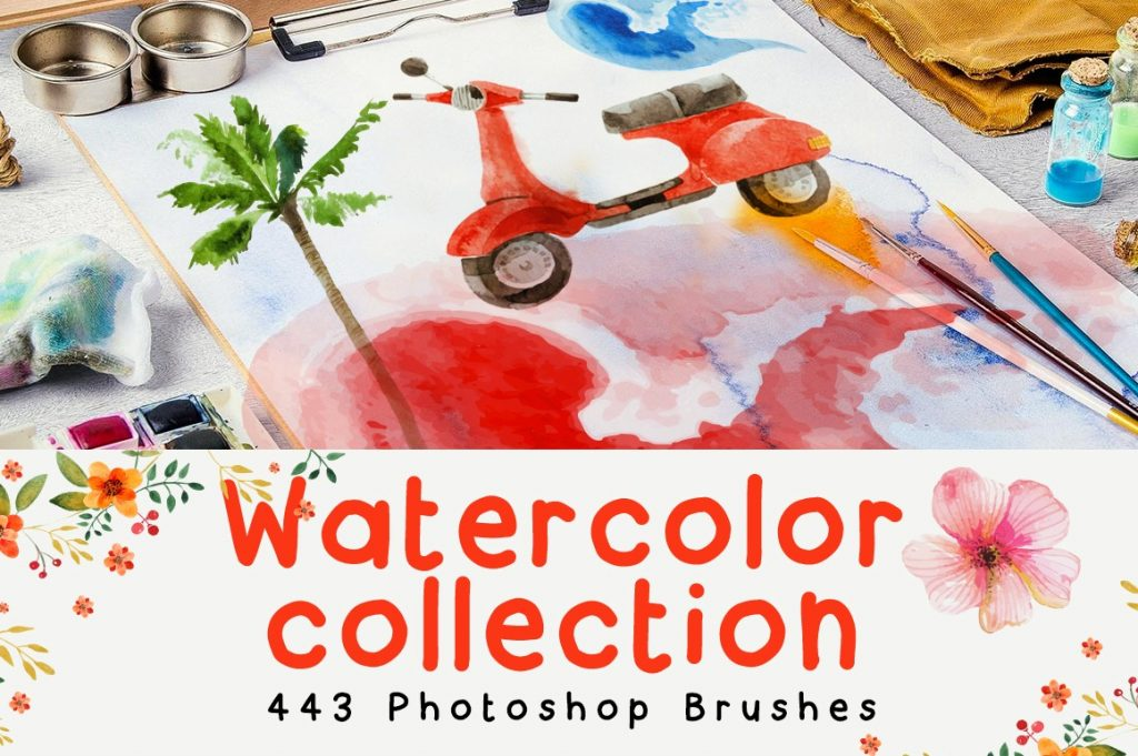 Watercolor-Collection-443-Photoshop-Brushes